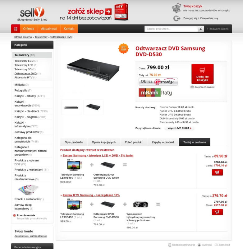 Zestaw produktów w sklepie internetowym