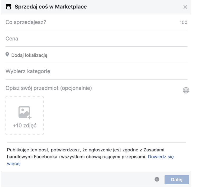 Okno Marketplace na Facebooku